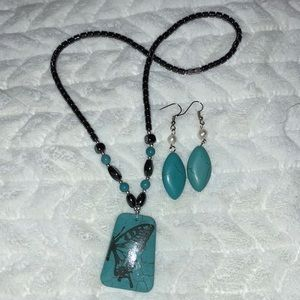 Other - Turquoise necklace and earrings set